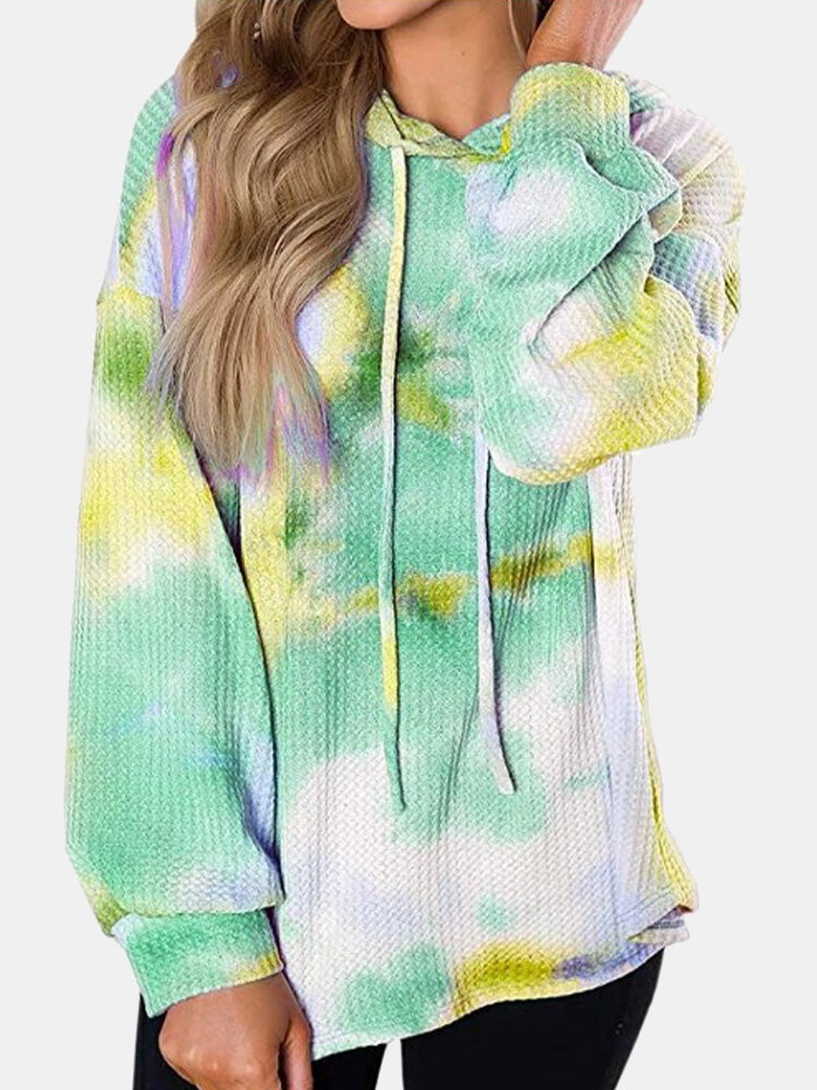 Multi-color Tie-dyed Print Long Sleeve Drawstring Hoodie For Women