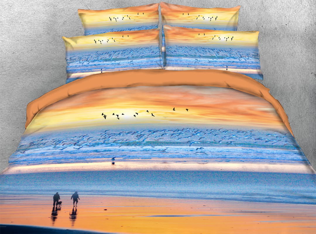 Orange Sunset and Beach 3D Scenery Durable 4pcs Bedding Sets No-fading Soft Reactive Printing Zipper Duvet Cover with Ties