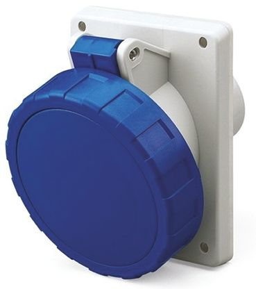 RS PRO IP66, IP67 Blue Panel Mount 2P+E Heavy Duty Power Connector Socket, Rated At 32.0A, 230.0 V