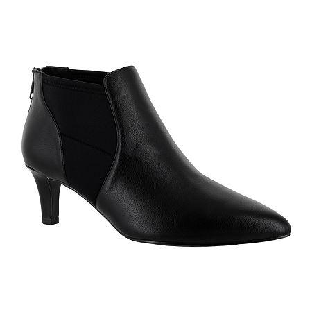Easy Street Womens Saint Zip Pointed Toe Booties, 7 1/2 Wide, Black