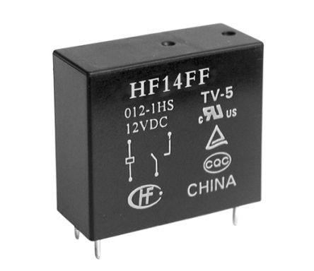 Hongfa Europe GMBH , 5V dc Coil Non-Latching Relay SPNO, 10A Switching Current PCB Mount Single Pole (50)