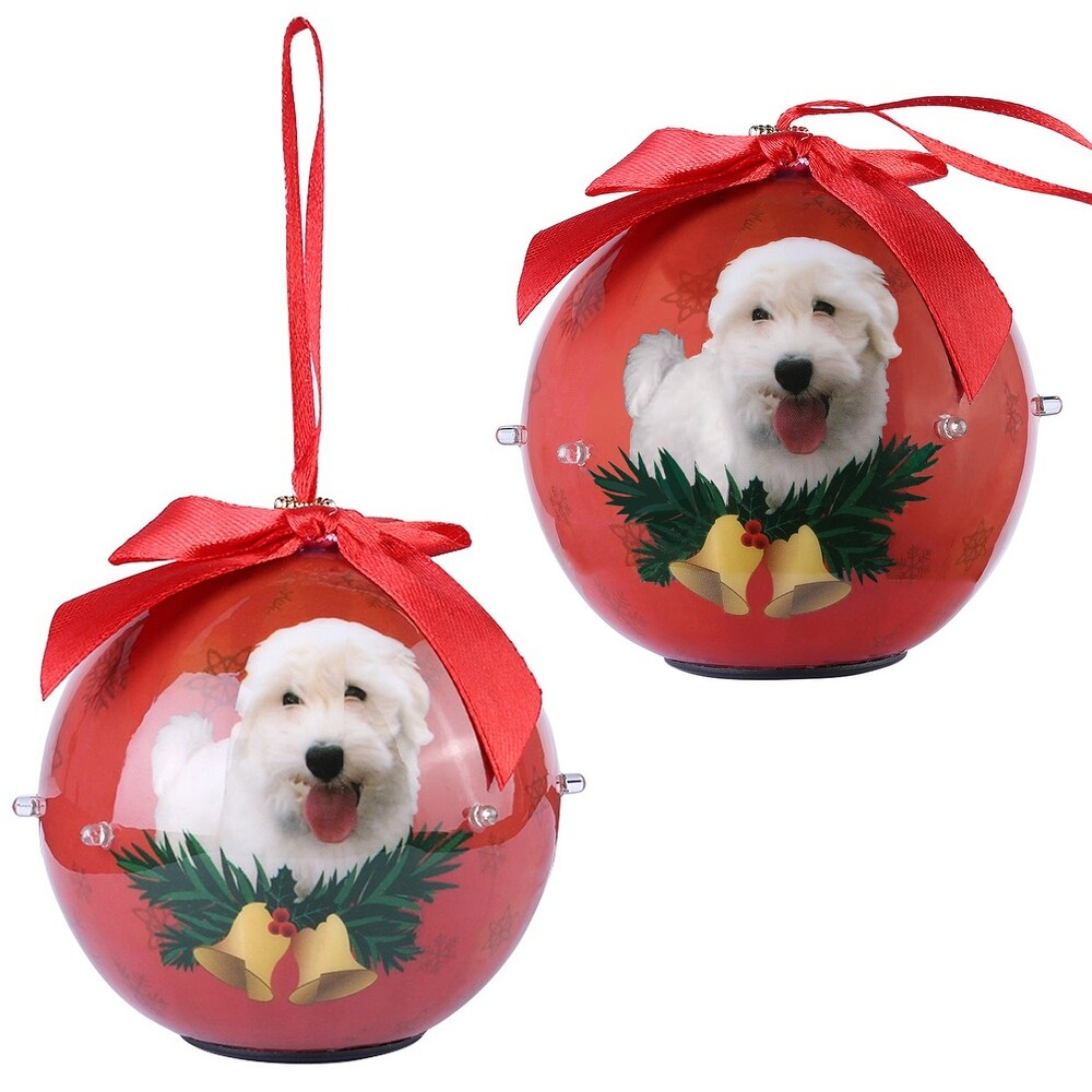 Christmas Lights Westie Print Battery Powered Pack of 2 Ornaments (Red)