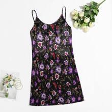 Plus Allover Floral Print Satin Cami Nightdress
