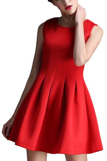Yoins Red Sleeveless Skater Dress
