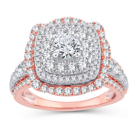 Womens 2 1/4 CT. T.W. Genuine White Diamond 10K Gold 10K Rose Gold Engagement Ring, 6 , No Color Family