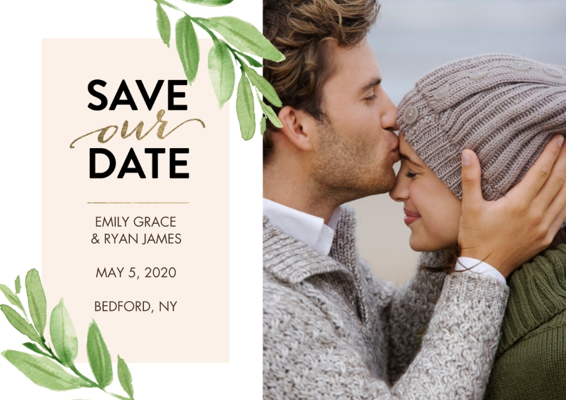 Save the Date Flat Glossy Photo Paper Cards with Envelopes, 5x7, Card & Stationery -Save the Date Watercolor Leaves