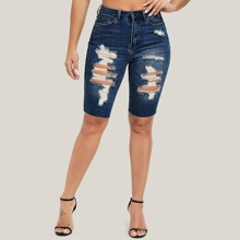 Denim Shorts mit hoher Taille und Riss