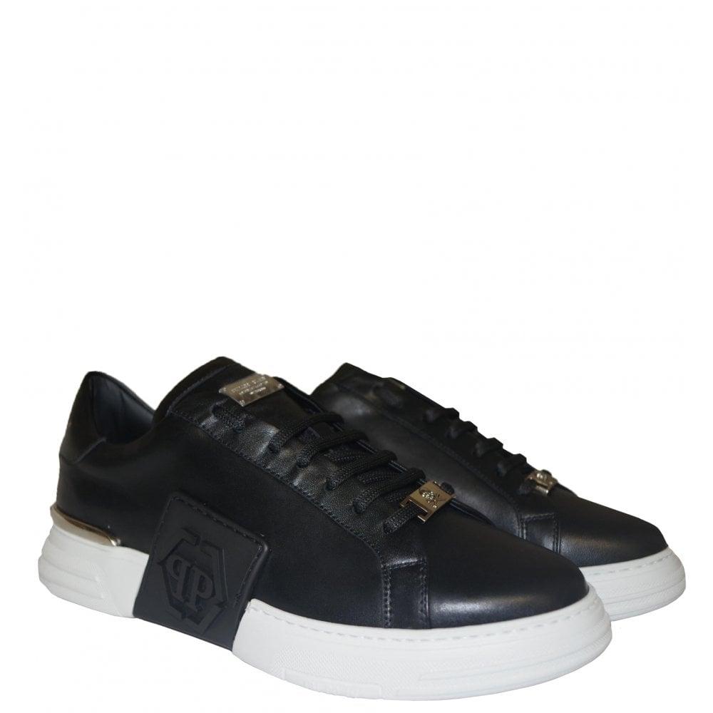 Philipp Plein PHANTOM KICK$ LO-TOP LEATHER Colour: BLACK, Size: 9