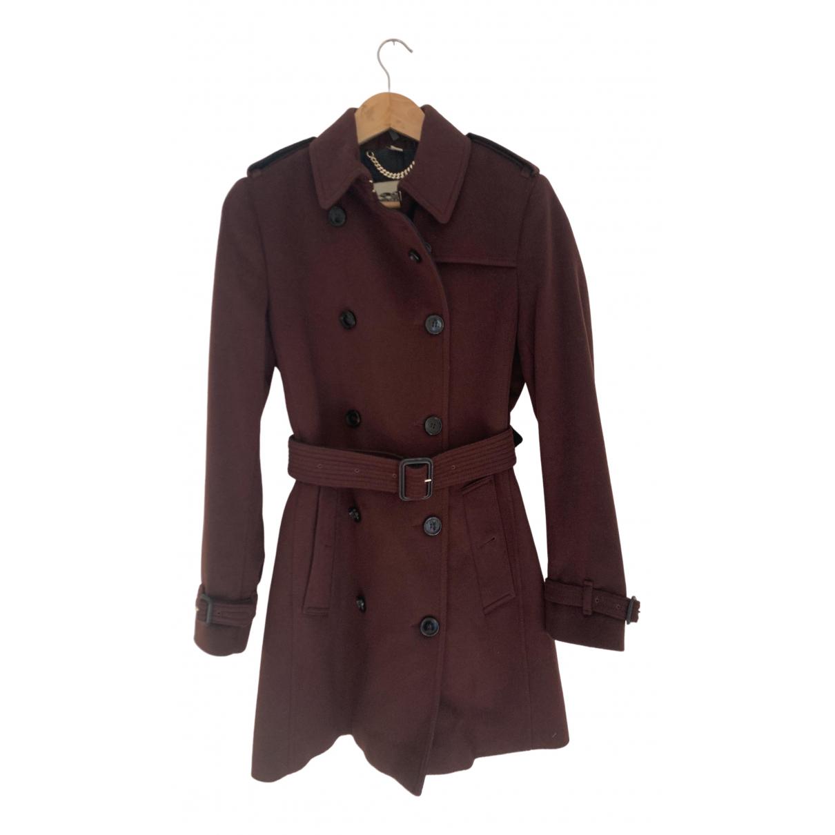 Burberry - Trench   pour femme en laine - bordeaux