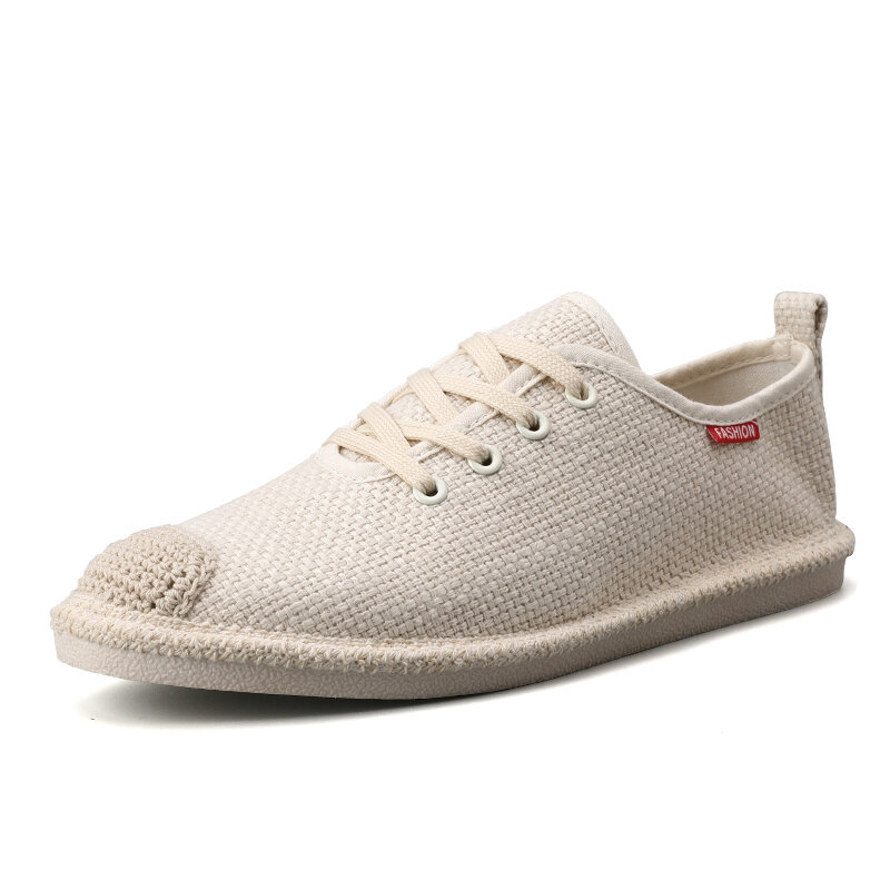 Men Chinese Style fisherman Shoes Linen Casual Old Peking Cloth Shoes