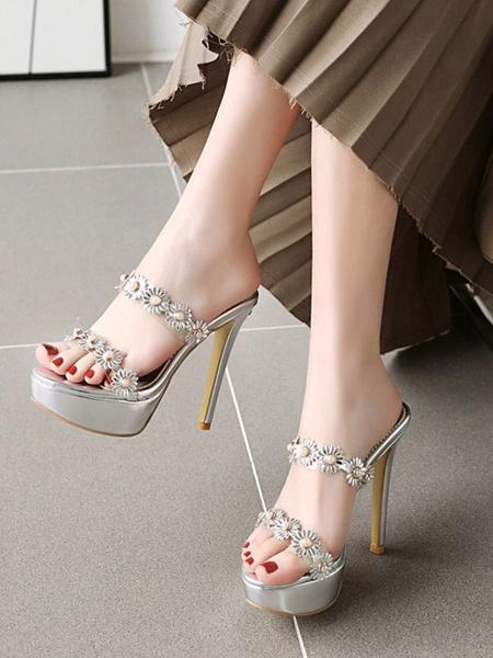Milanoo Women Sandals Stiletto Heel Flowers Slip-On Round Toe Light Gold Flower Detail Sexy Sandals