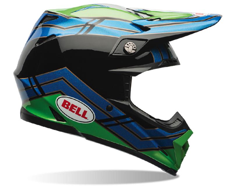 Bell Racing 7060992 Moto-9 Airtrix Stance Blue Green Helmet 62-63 | 2XL