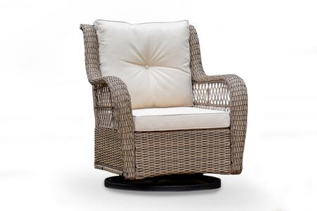 Rio Vista Collection RIO-SWV-GLDR-CHAIR Swivel Glider Chair with Dual Motion Base  Powder Coated Steel Frames  and All-Weather Wicker in Sandstone