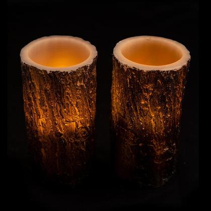Flamess LED Bark Wax Pillar Candles, 3
