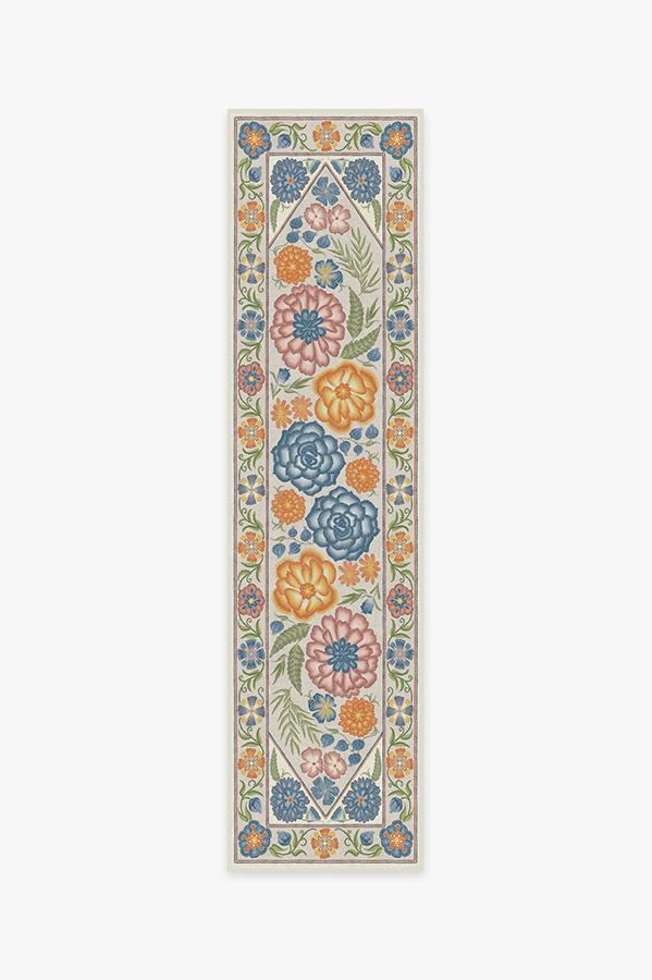 Washable Rug Cover | Prado Blue Bouquet Rug | Stain-Resistant | Ruggable | 2.5'x10'