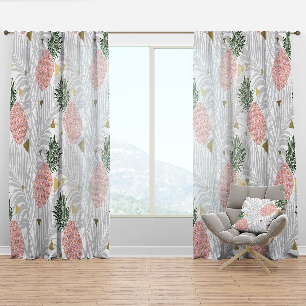 Carson Carrington Tannefors 'Pineappple On Tropical Leaves' Curtain Panel (50 in. wide x 120 in. high - 1 Panel)