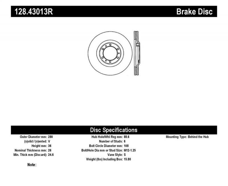 StopTech 128.43013R Sport Cross Drilled Brake Rotor; Front Right Front Right