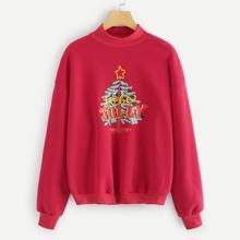 Plus Xmas Tree Printed Sweatshirt