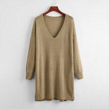Deep V-neck Drop Shoulder Longline Sweater