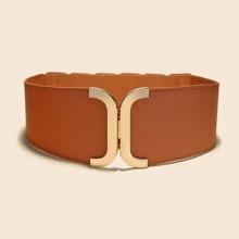 Metal Buckle Wide Belt
