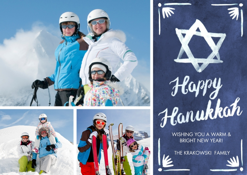 Hanukkah Photo Cards Flat Glossy Photo Paper Cards with Envelopes, 5x7, Card & Stationery -Handpainted Star