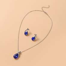 1pc Waterdrop Charm Necklace With 1pair Earrings