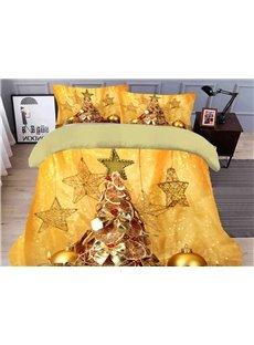 Golden Christmas Tree 3D Duvet Cover Set 4-Piece Polyester Zipper Bedding Sets