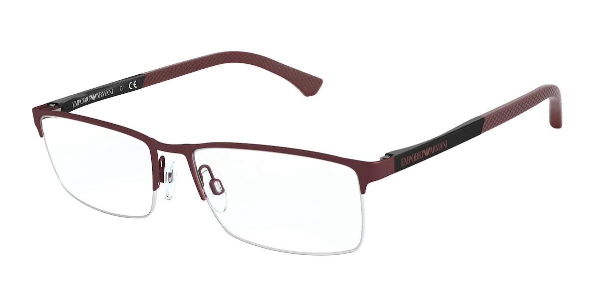 Emporio Armani EA1041 3322 Men's Glasses Burgundy Size 53 - Free Lenses - HSA/FSA Insurance - Blue Light Block Available