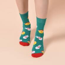 Socken mit Weihnachten Schneemann Muster