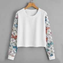Contrast Lace Sleeve Butterfly Print Sweatshirt