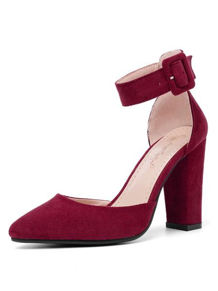 Milanoo D'orsay Pumps Correa de tobillo Zapatos de tacon grueso con punta puntiaguda Tallas grandes