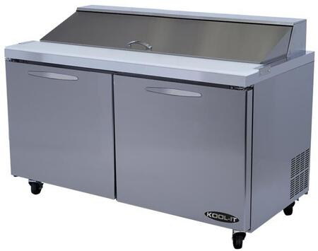 KSTM60 60 Megatop Sandwich Prep Table with 16.7 cu. ft. Capacity  2 Doors  2 Shelves  24 Pans  1/4 HP  in Stainless
