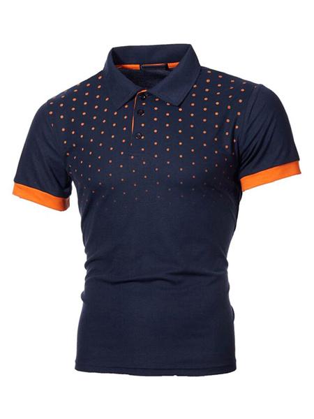 Milanoo Men Polo Shirt Turndown Collar Short Sleeves Buttons Slim Fit Polo Shirts