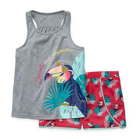Arizona Little & Big Girls 2-pc. Shorts Pajama Set, X-small (6-6x) , Gray