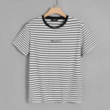 Guys Letter Graphic Striped Tee
