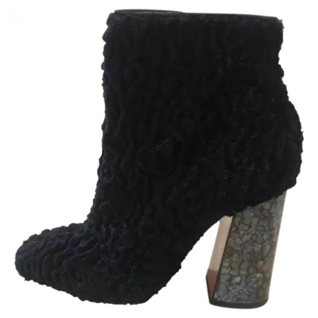 Christian Louboutin \N Navy Velvet Ankle boots for Women 37 EU