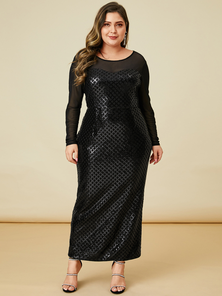 YOINS Plus Size Black Mesh Patchwork Dress