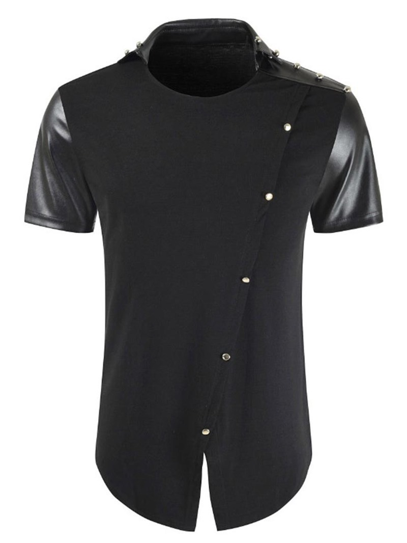 Ericdress Patchwork Fashion Plain Slim Mens T-shirt
