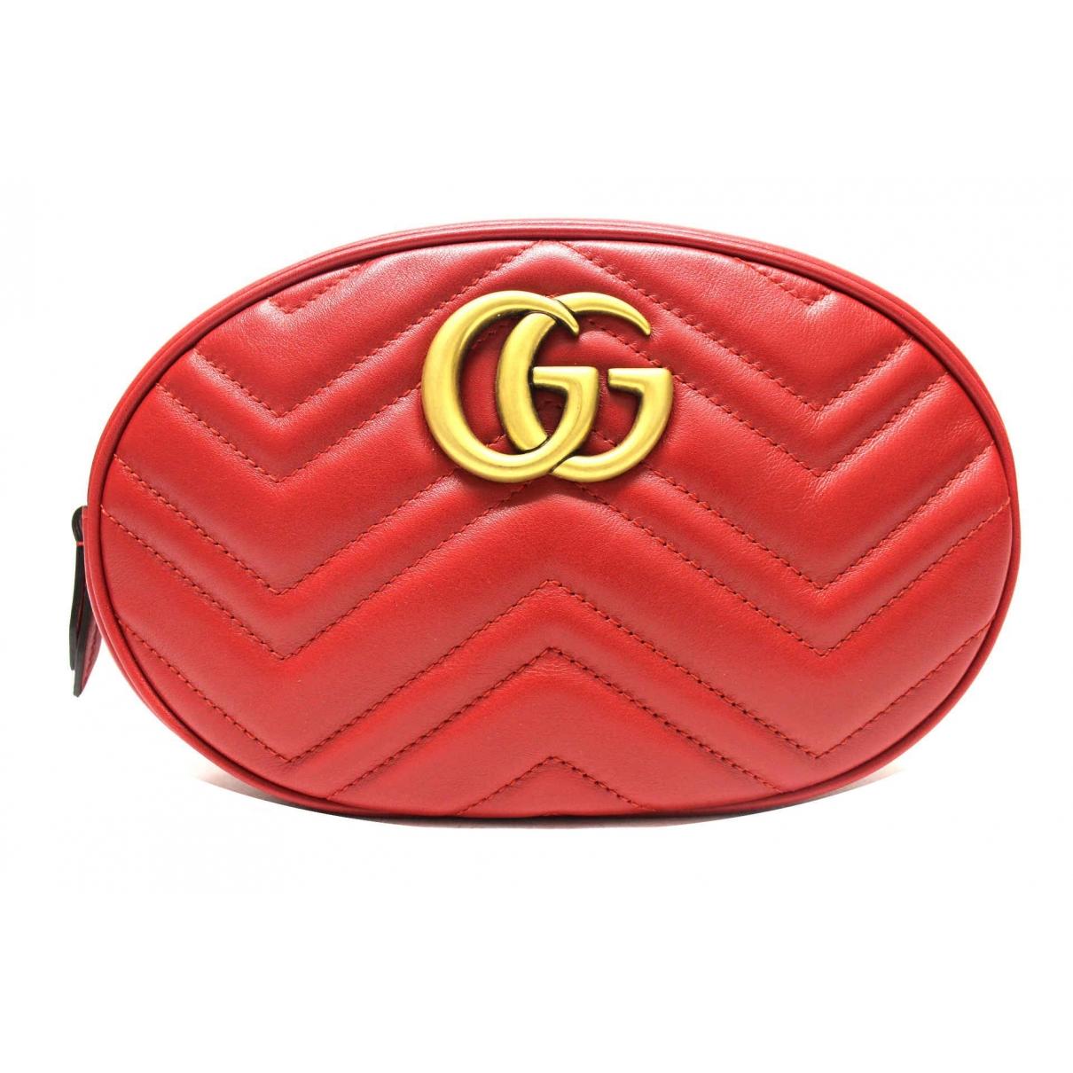 Gucci - Pochette Marmont pour femme en cuir - rouge