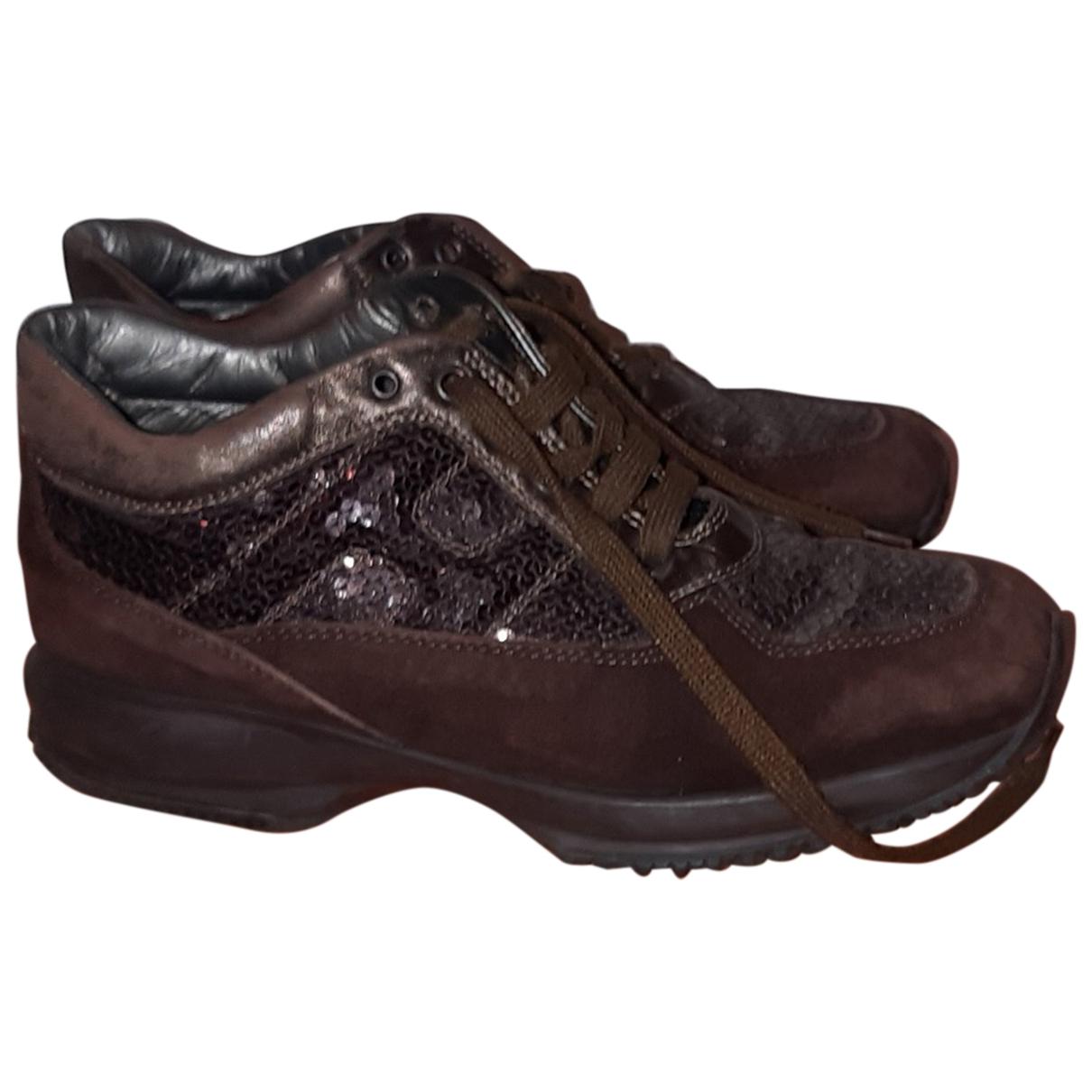 Hogan - Baskets   pour femme en cuir - marron