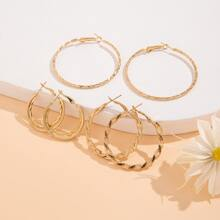 3pairs Twist Hoop Earrings