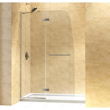 DL-6523C-04CL Aqua Ultra 36 In. D X 60 In. W X 74 3/4 In. H Frameless Shower Door In Brushed Nickel And Center Drain White Base