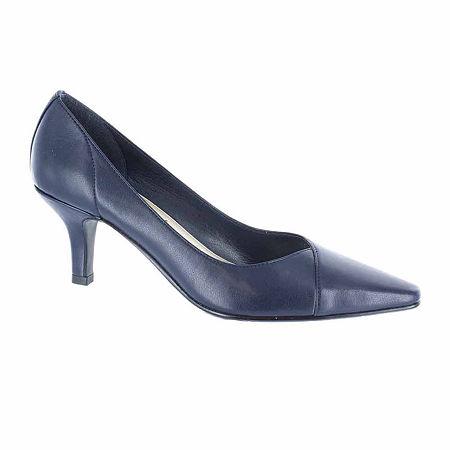 Easy Street Womens Chiffon Pumps Spike Heel, 7 1/2 Wide, Blue