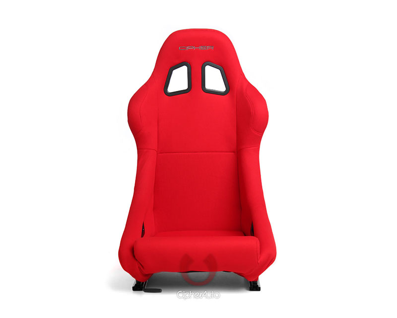 Cipher Auto CPA1005FRD(SINGLE) Red Cloth Full Bucket Non Reclineable Racing Seats - Single