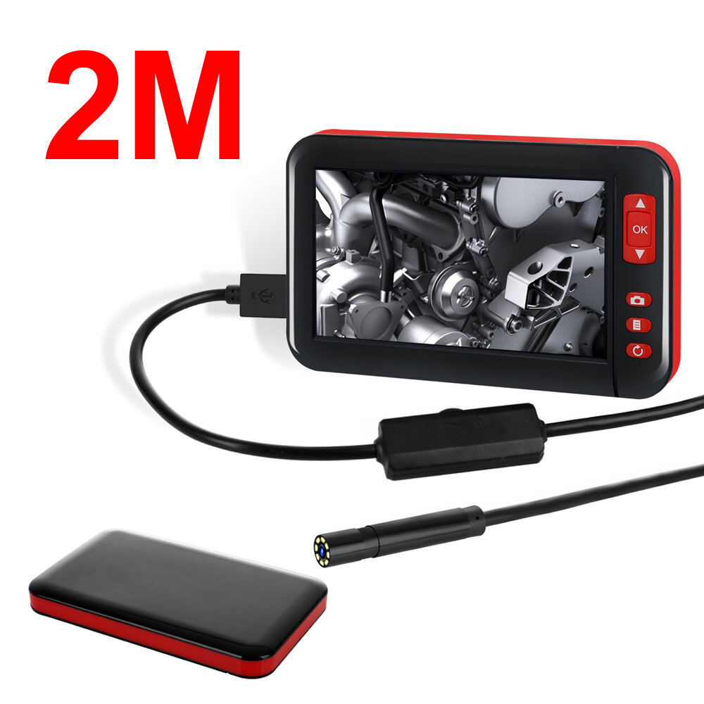 1M/2M/5M/10M 4.3-inch 8MM 1080P Color Display Screen 8 LED Inspection Camera Built-in 2000mAh Battery Adjust Brightness