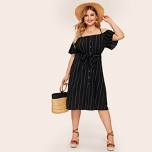 Plus Button Through Self Belted Striped Dress