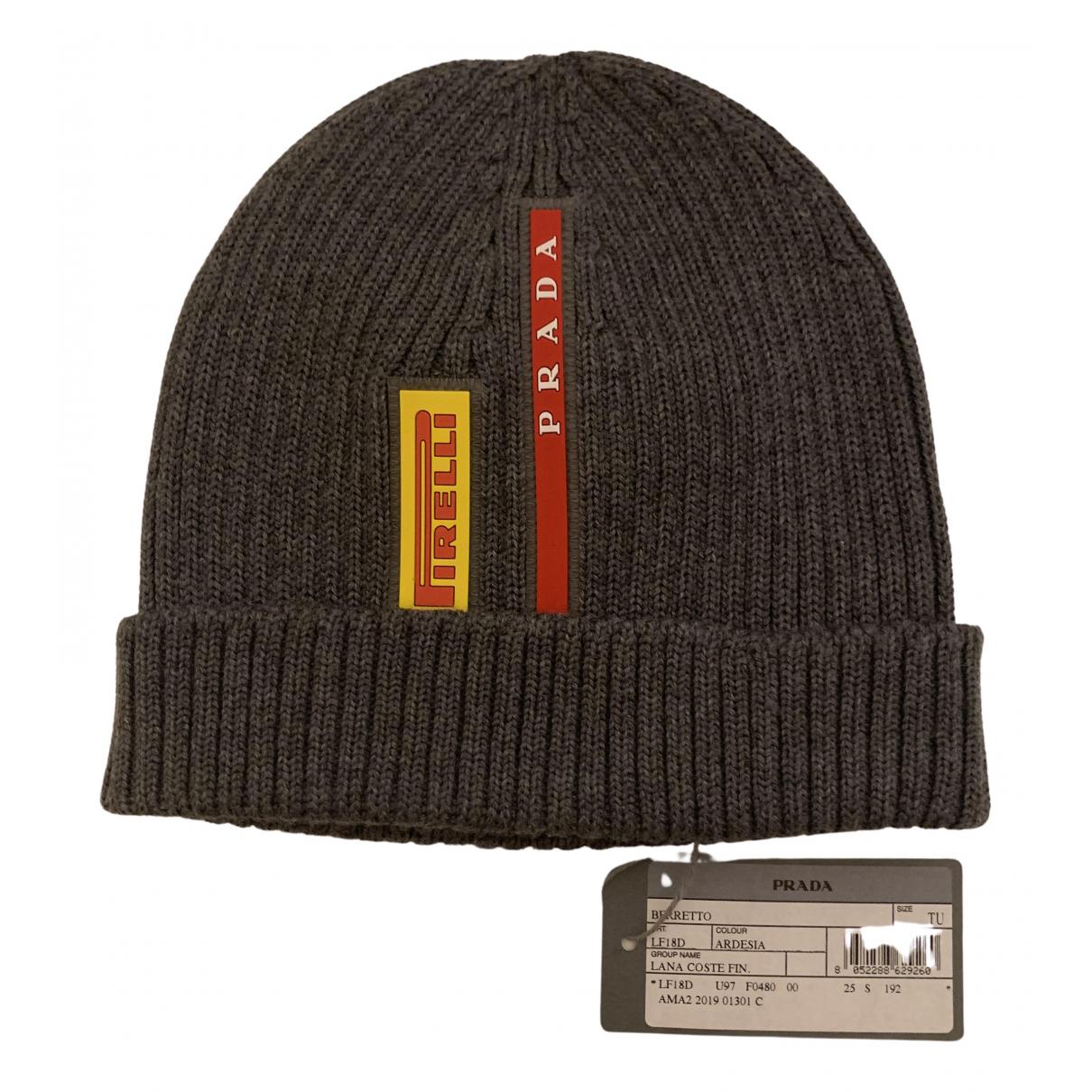 Prada - Chapeau & Bonnets   pour homme en laine - gris
