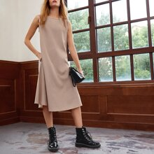 Tank Kleid mit Schluesselloch hinten und seitlichen Taschen