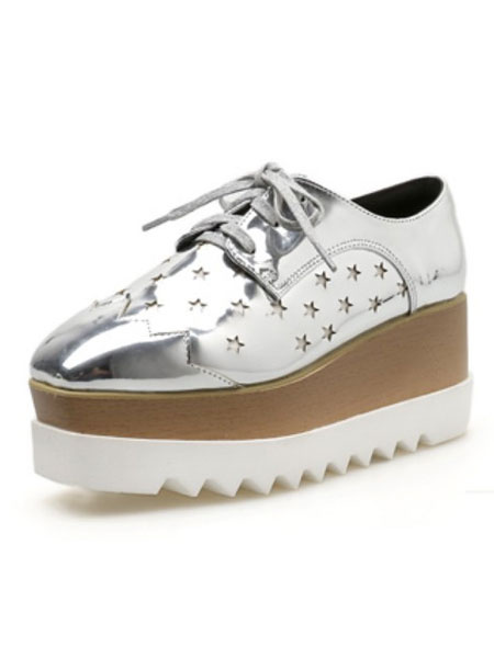 Milanoo Silver Oxfords Women Platform Wedge Heel Square Toe Star Hollow Out Lace Up Shoes