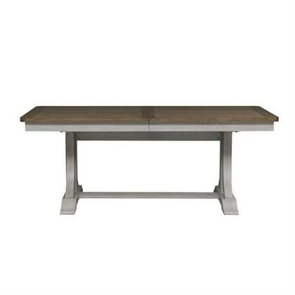 Farmhouse Reimagined Collection 652-4096-PD Trestle Table with One 18 Inch Removable Leaf  Heavy Wire Brush and Distressing and Planked Panels in